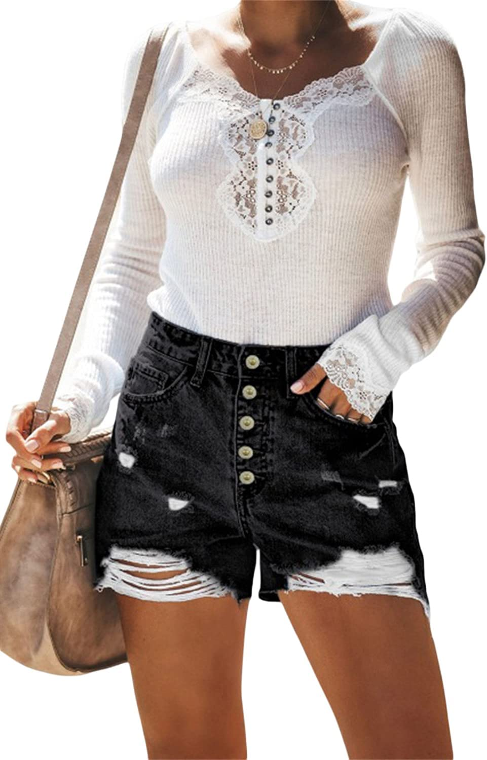 Frayed Hem Short Jeans Max 57% OFF for Women Easy-to-use Summer Pa Distressed Jean
