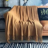 LOMAO Knitted Throw Blanket with Tassels Bubble Textured Soft Blanket Lightweight Warm Throws for Couch Cover Home Decor (Khaki, 50x60)
