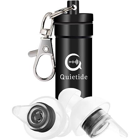独自開発の睡眠用耳栓 Quietide 耳栓 安眠 防音 遮音値31dB 睡眠 飛行機 仕事 勉強 水洗い可能 繰り返し使用可能 携帯ケース付き 日本語説明書付 Q4 ブラック
