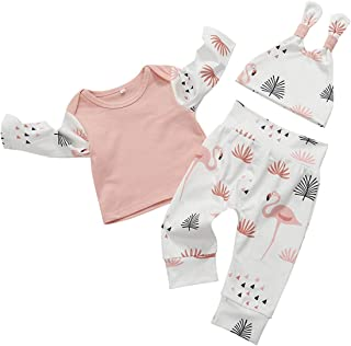 SEVEN YOUNG Kids Newborn Toddler Baby Girls Fall Outfits Ruffle Long Sleeve Flamingo T-Shirt+ Pants 3 Pc Winter Clothes Set