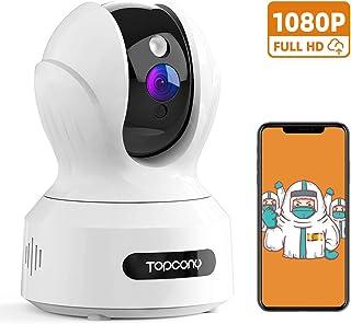 Topcony Camara Vigilancia WiFi Interior 1080p Seguvidad Cámara IP para Bebé y Mascotas con Visión Nocturna Detección de Movimiento Intercomunicación Compatible con Alexa 2.4GHz WiFi (Blanco)