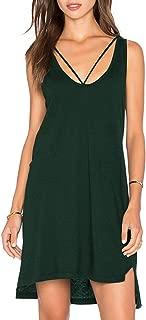 Women's Summer Sleeveless T Shirt Dress Criss Cross Neckline Casual Swing Tank Top Cotton Dresses
