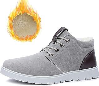HOAPL Chaussures de Neige d'hiver d'homme Fourrure Doublure Chaude Non-Slip Chaussures Mode Casual,Gris,42