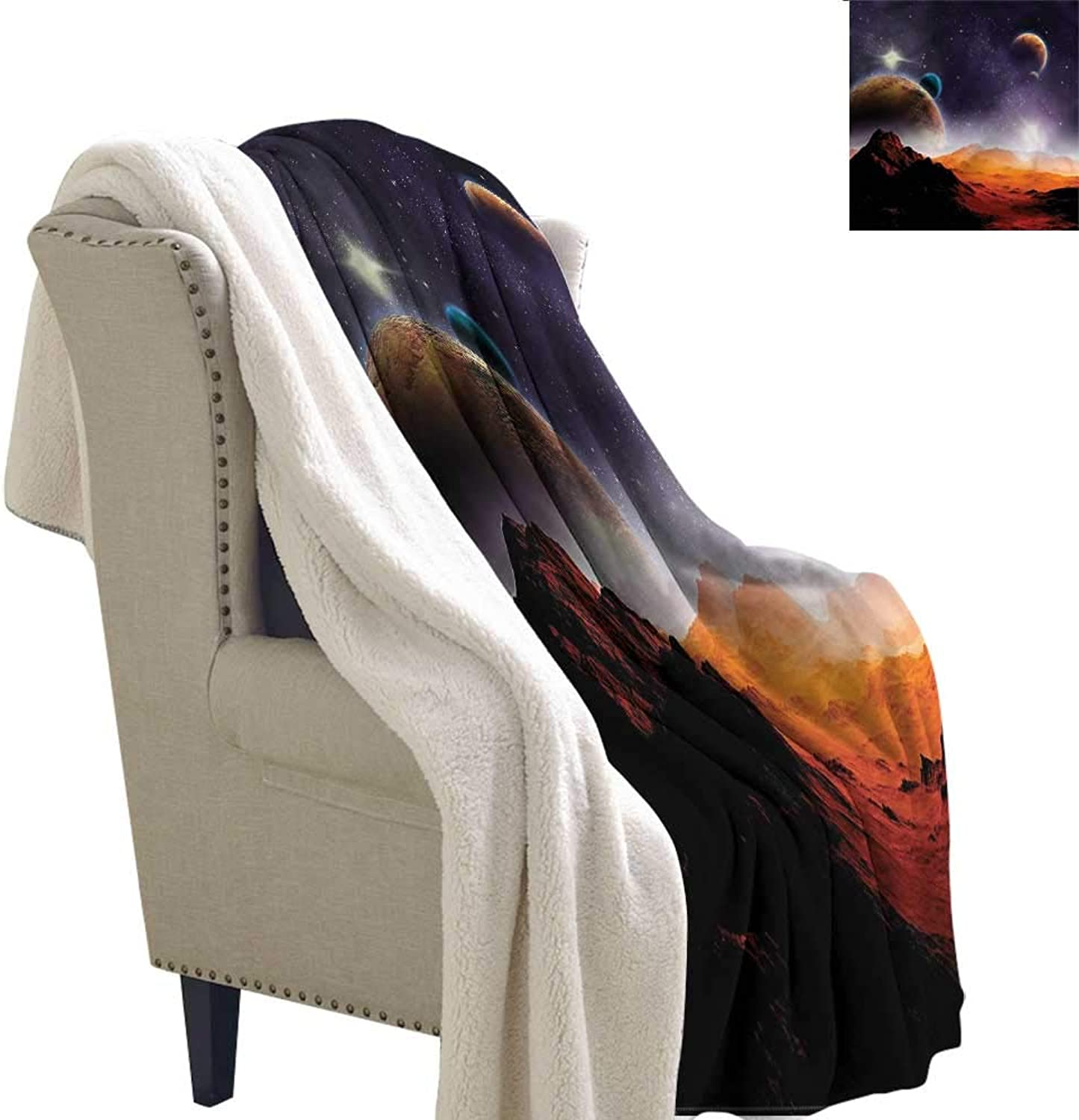 AndyTours Winter Quilt Galaxy Solar Sky Orbit Comet Reversible Blanket for Bed and Couch W59 x L31