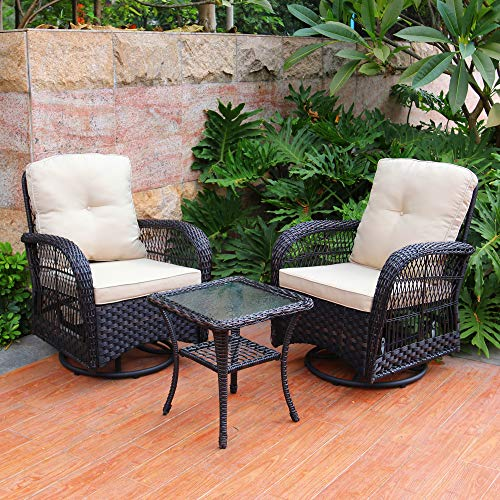 ABBLE 3PC Wicker Swivel Conversation Set, Outdoor Chairs,Resin Wicker,Steel,Rattan,with Cushions - Dark Brown