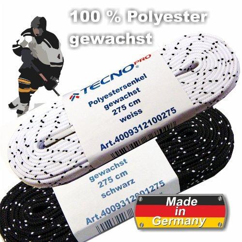 Schnürsenkel für Eishockey Polyester gewachst Tecno Pro 240 cm schwarz mit weißem Kreuz by Tecno Pro