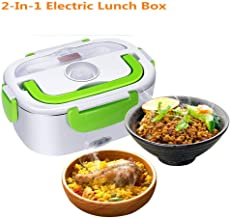 2 in 1 Electric HeatingLunch Box for Car and Work Hot Food Stainless Steel 12 V and 110V Lid and Thermos 40 W with Spoon and Two Compartments Food Warmer Food Heater (green)