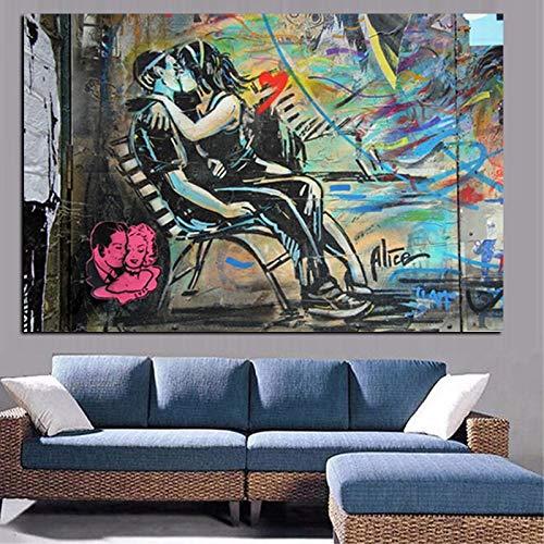 wZUN Cartel de Graffiti imprimible HD. Pintura al óleo Realista de Pareja besándose sobre Lienzo. Cuadro Abstracto de la Pared del Arte Pop. Decoración de sofá de salón 50x70cm