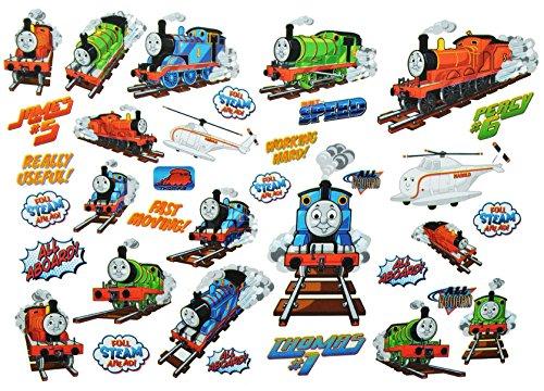 alles-meine.de GmbH 35 TLG. XL Set: Wandtattoo / Sticker -  Thomas die kleine Lokomotive  - Wandsticker Aufkleber für Kinderzimmer - Zug Lok Eisenbahn - und Seine Freunde Percy..