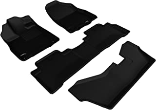 3D MAXpider L1AC00601509 Complete Set Custom Fir All-Weather Floor Mat for Select Acura MDX Models - Kagu Rubber (Black)