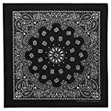 100% Cotton Western Paisley Bandanas (22 inch x 22 inch) Made in USA - Black Single Piece 22x22 - Use For Handkerchief, Headband, Cowboy Party, Wristband, Head Scarf - Double Sided Print