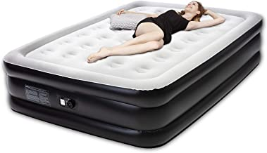 Tuomico Microfiber Air Mattress Queen Size, Luxury Airbed with Built in Pump, Blow Up Air Bed Inflatable Air Mattresses for Guest Home Camping, 80 x 60 x 19 inches, 4-Year Guarantee