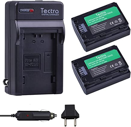 Tectra 2280mAh 2Pcs NP-FZ100 NP FZ100 Camera Battery + Charger Kits for Sony A9 / A7R III / A7 III/ILCE-9 ILCE9 ILCE-7RM3 ILCE-7M3 Mark III as NPF100
