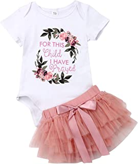 Newborn Baby Girls Clothes Floral Romper Short Sleeve Neon Letter Print Top + Tulle Tutu Skirt 2 PCS Summer Outfits Set