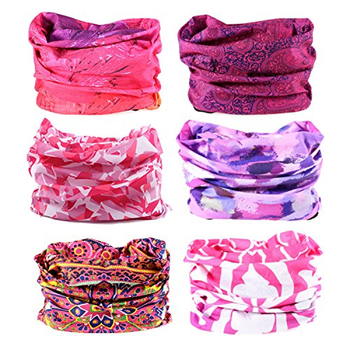 Oureamod Wide Headbands for Men and Women Athletic Moisture Wicking Headwear for Sports,Workout,Yoga Multi Function (Purple series-6pcs)