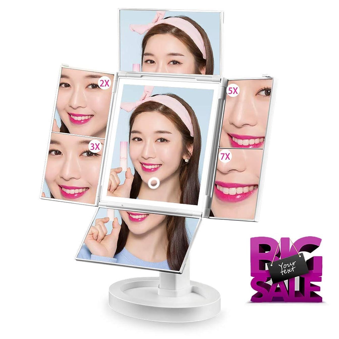 累積残る最終的に化粧鏡 SIX by SIX 化粧ミラー 鏡 四面鏡 女優ミラー 卓上 led付き 折りたたみ 拡大鏡 2&3&5&7倍 明るさ調節可能 180°回転 電池&USB 2WAY給電