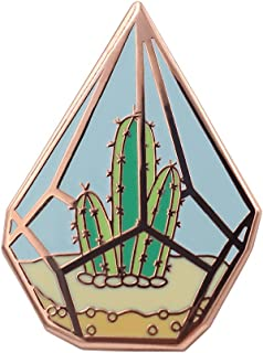 Real Sic Cactus Enamel Pin - Cute Cactus in Geometric Terrarium Lapel Pin - A Succulent Garden for Backpacks, Jackets, Hats & Tops