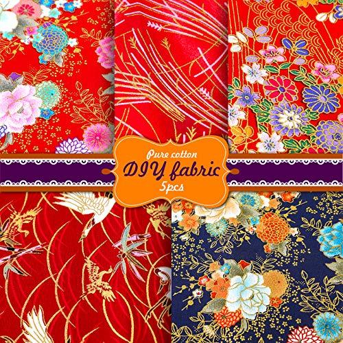 Souarts 5Pcs Tissus Patchwork Bronzage à la Japonaise Carrés de Tissu de Coton Tissu Bundle DIY Tissu pour la Couture de Bricolage Vêtements Sewing 20x25/50x50cm(Rouge,50x50cm)