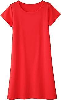 Balasha Girls Short Sleeves A-line Polka Dot Bowknot Summer Casual Dress