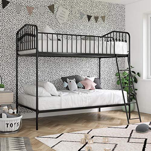 Novogratz Bushwick Metal Bunk Bed, Kid's Bedroom Furniture, Twin/Twin, Black