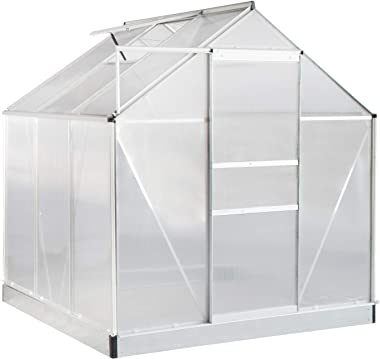 Aoxun Polycarbonate Walk-in Garden Greenhouse with Adjustable Roof Vent and Rain Gutter for Plants, Stable Green House for Flowers Outdoor for Winter,6 x 6 FT