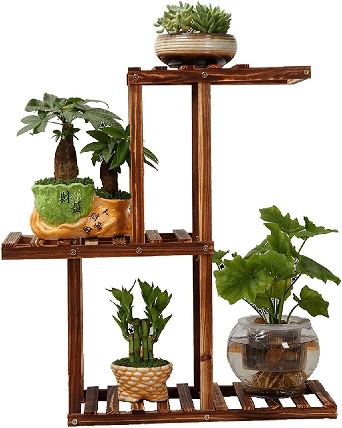 Shelves Organizer for Books Bookcase Bookshelf Ends Flower Stand Pure Wood Floor-Standing Multi-Layer Bonsai Shelf Balcony Living Room Indoor and Outdoor Flower Pot Shelf Plant Stand Patio Strong STU