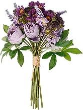 Nubry Fake Flowers Wedding Bouquet Artificial Lavender Wildflowers Hydrangea Flower Arrangements Home Bridal Bouquet Décor(Purple)