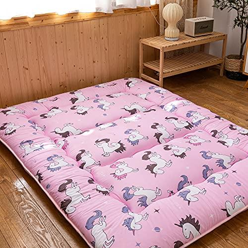 4 Inches Extra Thick Pink Unicorn Floor Mattress, Japanese Futon Mattress Thicken Tatami Floor Mat Foldable Camping Mattress, Twin Size