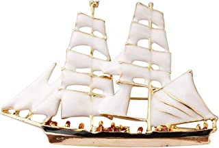 A N KingpiiN - Pin de solapa para barco con vela blanca y dorada para hombres y mujeres