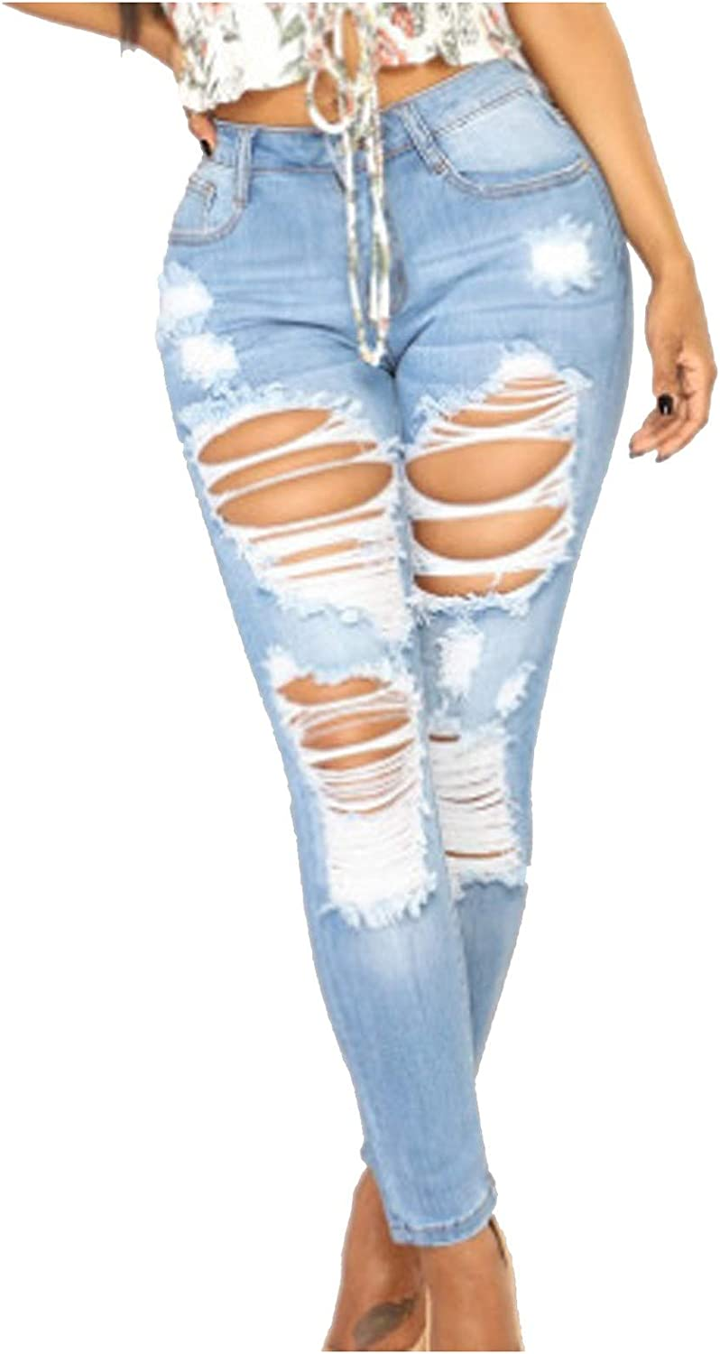 JPVDPA Women's High Rise Boyfriend Jeans Solid Color Skinny Jeans Slim Fit Pants Sexy High Waist Jeans with Hole