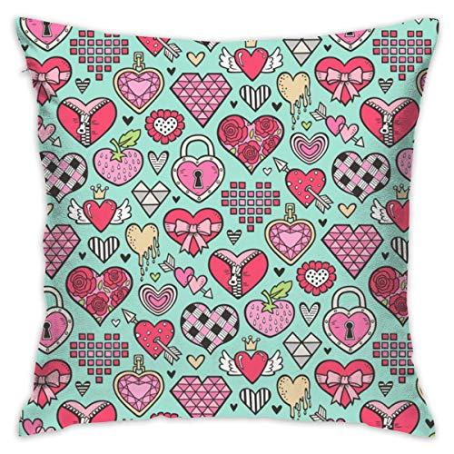 akingstore Coeurs Doodle Valentine Love Red U0026 Rose sur La Menthe Green_205 Valentine Throw Coussins Couvre Coussin Souple Coton Draps Coussin Couvre 18 X 18 Pouces pour Couch Chambre Voiture