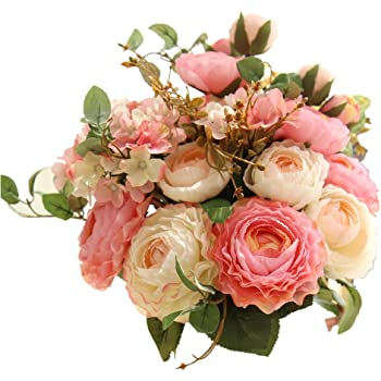 Amazon Com Artificial Fake Flowers Plants Silk Rose Flower Arrangements Wedding Bouquets Decorations Plastic Floral Table Centerpieces Home Kitchen Garden Party Decor Pink Champagne Kitchen Dining