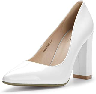 IDIFU Women's IN4 Chunky-HI Block High Heels Closed Pointed Toe Pumps Dress Office Shoes for Women (5 M US, White Patent) (8.5, White Patent)