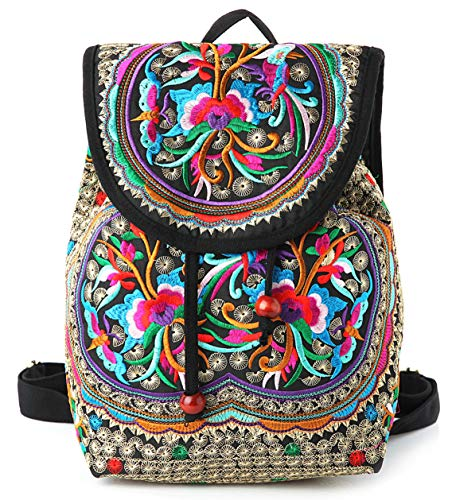 Product Image of the Embroidery Backpack Purse for Women Vintage Handbag Small Drawstring Casual...