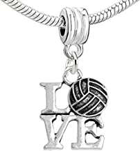GemStorm Silver Plated Dangling 'LOVE' Volleyball For European Snake Chain Bracelets