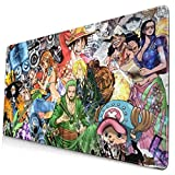 Popular Anime One Piece Large Gaming Mouse Pad Durable Stitched Edges Non-Slip Rubber Base 15.8x29.5 Keyboard Pad Desk Pad for Desk Cover, Computer Keyboard, Pc, Laptop