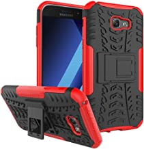 """Ikwcase Galaxy A7 2017 Case, Heavy Duty Armor Tough Hybrid Shockproof Dual Layer Kickstand Protective Case Cover for Samsung Galaxy A7 2017 (2017) A720 5.7"""" Red"""