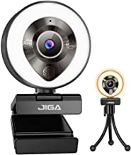 JIGA 1080P Webcam with Microphone, HD Webcam with Light, Streaming Camera for PC,USB Camera, Adjustable Brightness,Fast Fo...