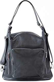 Women Leather Backpack/Purse- Handmade Convertible Hobo Shoulder Bag from Genuine Leather