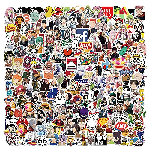 300 Pack Anime Cool Stickers Mixed Decals for Laptop, Skateboard,Water Bottles Helmet Bicycle ,Fashion Random Stickers for Adults Teens