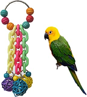 Keersi Colorido juguete de jaula para masticar para pájaros papagayos, periquitos, cacatúas, guacamayos, canarios
