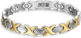 Titanium Stainless Steel Magnetic Therapy Bracelet Health Care Gift for Womens Golden&Silver