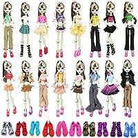 Miunana 12 Accesorios para Monster High Dolls: 6 Ropas Vestidos + 6 PCS Zapatos (Seleccionado Al Azar)