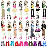 BARWA 6 Sets Doll Clothes Outfits with 6 Pairs of Doll Shoes Accessories for Monster High Dolls