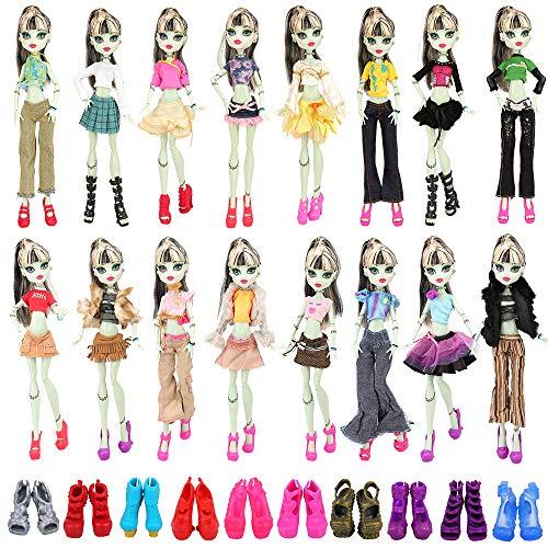 Miunana 6 Kleider Kleidung + 6 Schuhe Stiefel Boot für Monster high Doll Puppe