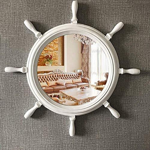 Espejos de pared de 27 pulgadas mediterránea, Forma náutico de la rueda de la nave del ancla decorativo Espejo, espejo Europea Vanidad, Espejo redondo de decoración de la pared, tocador, sala de estar