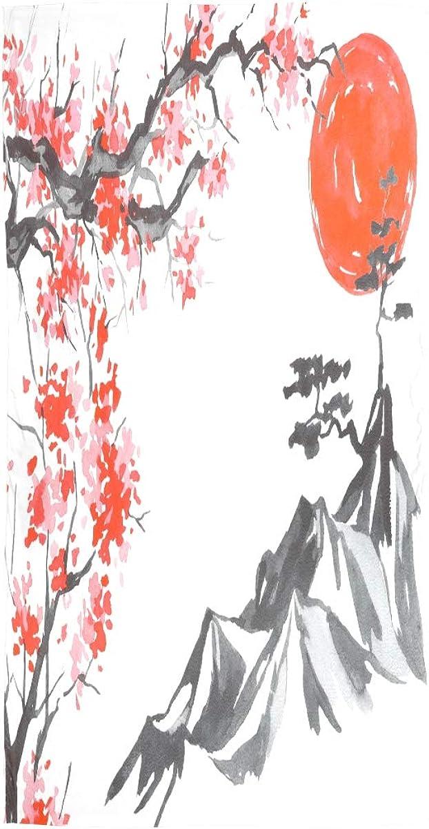 AUUXVA Fashion Scarf Watercolor Fuji Mountain Cherry Blossom Sunset Long Lightweight Sunscreen Scarf Shawl Wrap Muffler Neckerchief for Women Men