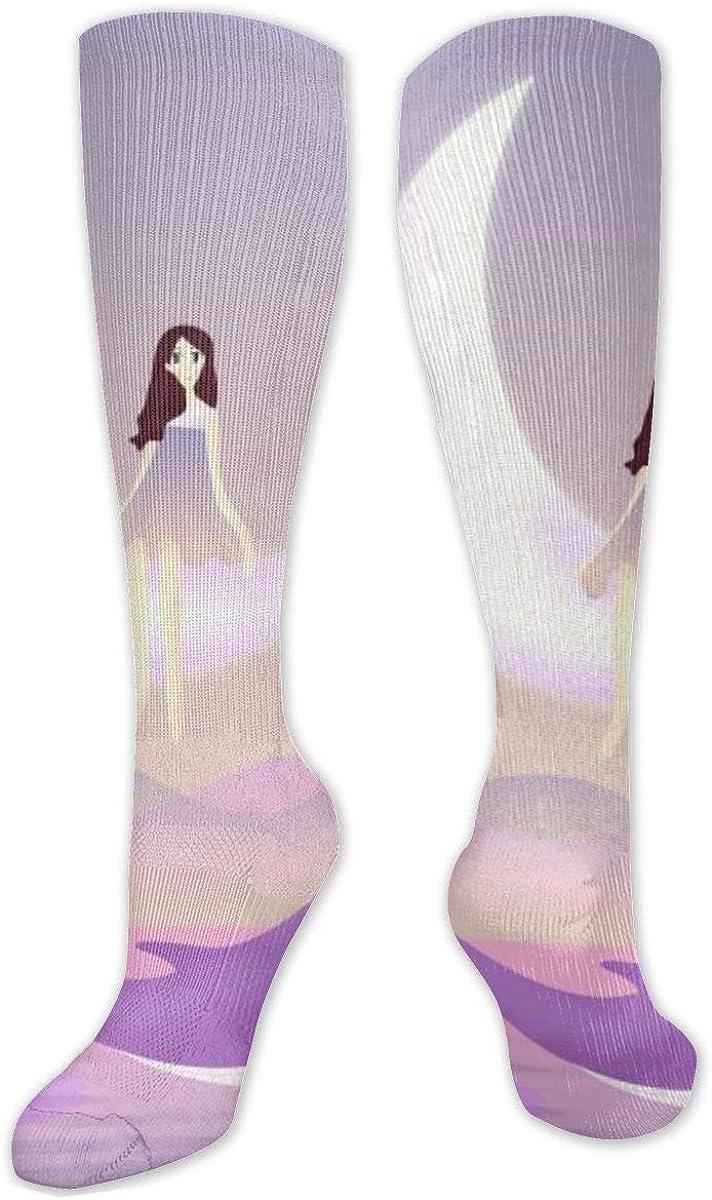 Cartoon Purple Dolphin Moon Knee High Socks Leg Warmer Dresses Long Boot Stockings For Womens Cosplay Daily Wear