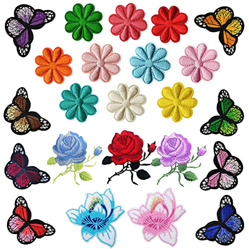 Woohome Patch Sticker, 23 Pz Rosa Flores Mariposa Parche Termoadhesivo, Parche de Hierro en Parches para Ropa, Mochila, Cortina