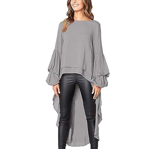 63db49b7bb3427 Womens Blouses and Tops Ruffle Long Sleeve Asymmetric High Low Club Shirt  Dress